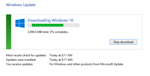 Windows 10 Update Downloading Start