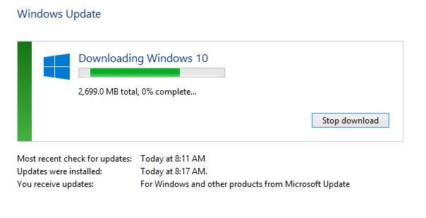 Windows 10 Update Downloading Start