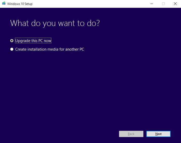 Windows 10 Update Using Media Creation Tool